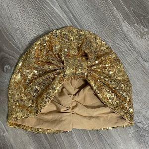 Gold sequin turban